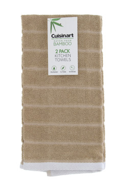 Cuisinart Chubby Stripe Bamboo Kitchen Towels, 2pk -Soft & Absorbent Kitchen Hand Towels Set with Quick Drying Bamboo Cotton Blend that Handles Cleaning, Wiping, & Drying Needs, 16 x 28 Inches