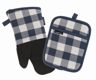 Cuisinart Buffalo Check White Plaid Design Kitchen Accessories – Handle Hot Kitchen Items Safely and Protect Your Counter – Non-Slip Grip with Hanging Loop