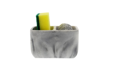 Cuisinart Sponge Holder with 2 Compartments - Includes Bonus Scrubber Sponge and Scour - Ideal Countertop Sponge Organizer for a Clutter-Free Kitchen, Laundry, or Bathroom Sink - Stylish Marble Effect