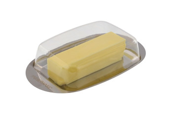 Farberware Butter Dish with Lid - Ideal Butter Keeper for Counter or Fridge Use - Stainless Steel Butter Tray with Clear Lid for Easy Visibility -Great for Butter Storage, Cream Cheese Holder, & More