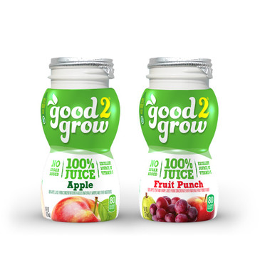good2grow 100% Apple or Fruit Punch Juice Refill, Variety Pack of 24, 6-Ounce BPA-Free Juice Bottles, Non-GMO w/ No Added Sugar, for use w/ our Spill-Proof Toppers as an Excellent Source of Vitamin C