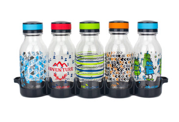 reduce WaterWeek Kids Reusable Water Bottle Set with Fridge Tray - 5 Flask Pack, 14oz - Cute and Colorful Designs - BPA Free, Leak-Proof Twist Off Cap - Perfect for Lunchboxes and Road Trip