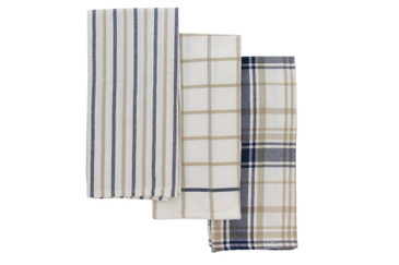 Cuisinart Oversized Kitchen Towels, Set of 3 - Durable and Absorbent Decorative Kitchen Towels Perfect for Drying Dishes and Hands - Machine Washable Kitchen Towel Set, 18 x 28 inches, Plaid Navy/Tan
