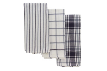 Cuisinart Oversized Kitchen Towels, Set of 3 - Durable and Absorbent Decorative Kitchen Towels Perfect for Drying Dishes and Hands - Machine Washable Kitchen Towel Set, 18 x 28 inches, Plaid Navy/Grey