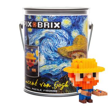 Pix Brix Pixel Art Puzzle Bricks – Vincent Van Gough Paint Can Kit – Patented Building Brick Set to Build Van Gough, Includes Starry Night Painting – Create 3D Builds Without Water, Iron or Glue