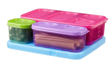 Rubbermaid LunchBlox Kid's Flat Lunch Container Kit, Purple/Pink/Green