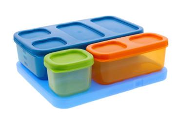 Rubbermaid  LunchBlox Kid's Flat Lunch Box Kit, Blue/Orange/Green