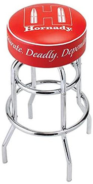 Hornady Reloading Bench Stool, 99103 - Stylish Work Bench Stool, 31-inches Tall with a Durable Padded Vinyl Swivel Seat, 300-lb Capacity, 360-degree Footrest, Hornady Logo, & Non-Marring Feet