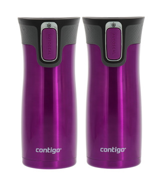 Contigo Autoseal West Loop 2.0 - Vacuum Insulated Stainless Steel Thermal Coffee Travel Mug - Keeps Drinks Hot or Cold for Hours - Fits Under Single-Serve Brewers- 16oz, Radiant Orchid 2pk
