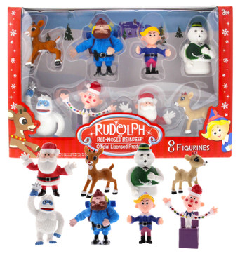 Rudolph the Red-Nosed Reindeer Main Characters from the Classic Movie, Set of 8, PVC Figurines