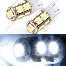 T10 White LED Bulbs for Backup Reverse Lights 9-SMD