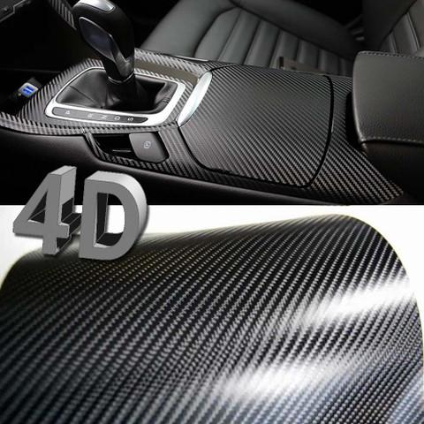 Premium 4D Gloss Black Carbon Fiber Vinyl Wrap Bubble Free Air Release