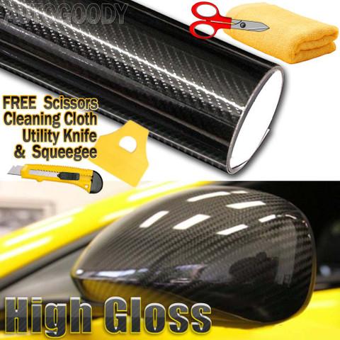 5D Premium HIGH GLOSS Black Carbon Fiber Vinyl Wrap Bubble Free Air Release