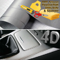 Premium 4D Semi-Gloss SILVER Carbon Fiber Vinyl Film Wrap Bubble Free Air Release