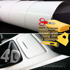 Premium 4D Semi-Gloss WHITE Carbon Fiber Vinyl Film Wrap Bubble Free Air Release
