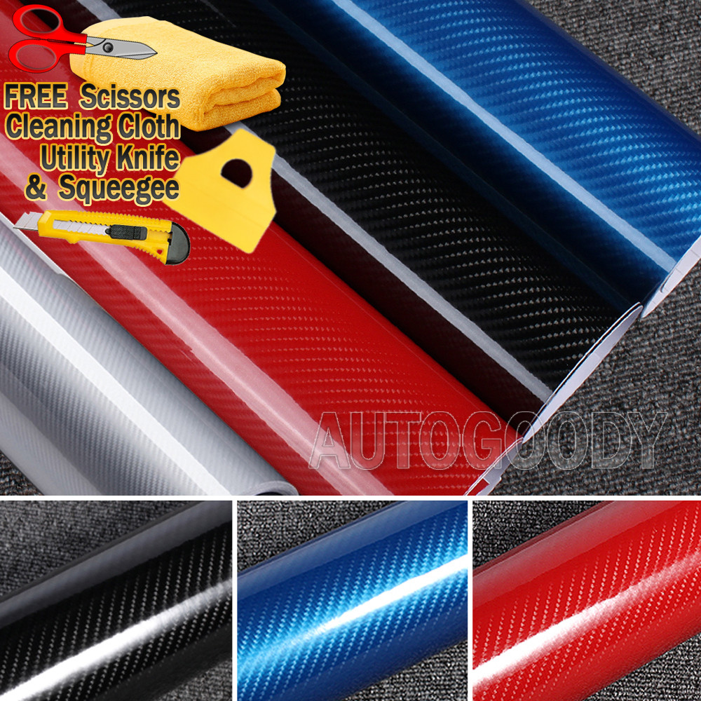 "60/"" x 72/"" In 5FT x 6FT 5D Gloss Red Carbon Fiber Vinyl Wrap Air Bubble Free"