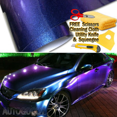 Premium Gloss Metallic Chameleon Purple Blue Vinyl Film Wrap Bubble Free Air Release