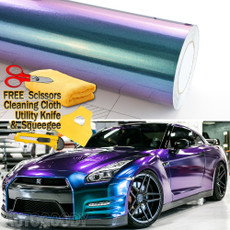 Premium Gloss Metallic Chameleon Purple Teal Green Vinyl Film Wrap Bubble Free Air Release