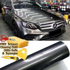 Premium Super Gloss Gray Metallic Gunmetal Vinyl Film Wrap Bubble Free Air Release