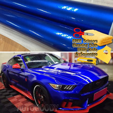 Premium Super Gloss Metallic Blue Vinyl Film Wrap Bubble Free Air Release