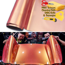Super Gloss Metallic Peach Color - Orange + Pink Vinyl Film Wrap Air Bubble Free