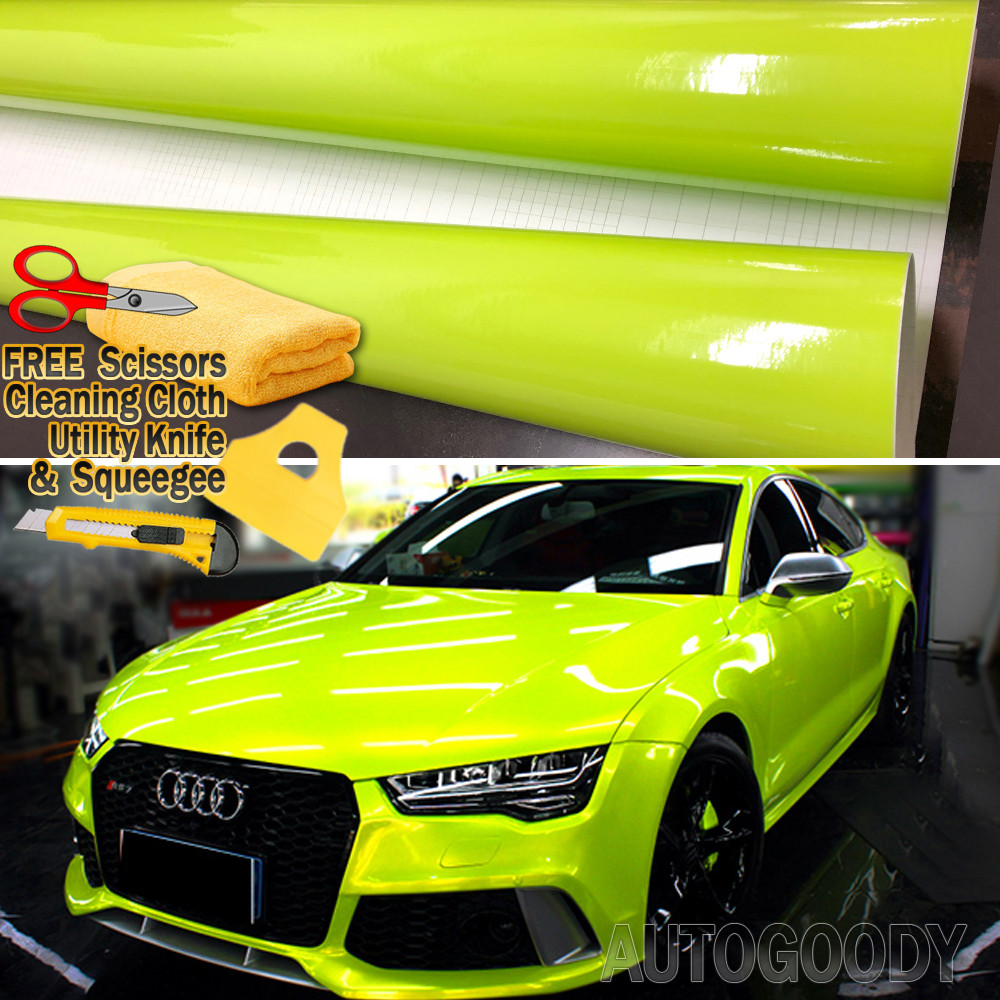 """*12/""""x60/"""" Gloss Glossy Yellow Vinyl Wrap Sticker Decal Air Release Bubble Free"""