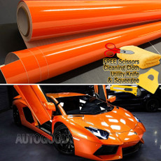 Premium Gloss Orange Vinyl Film Wrap Bubble Free Air Release