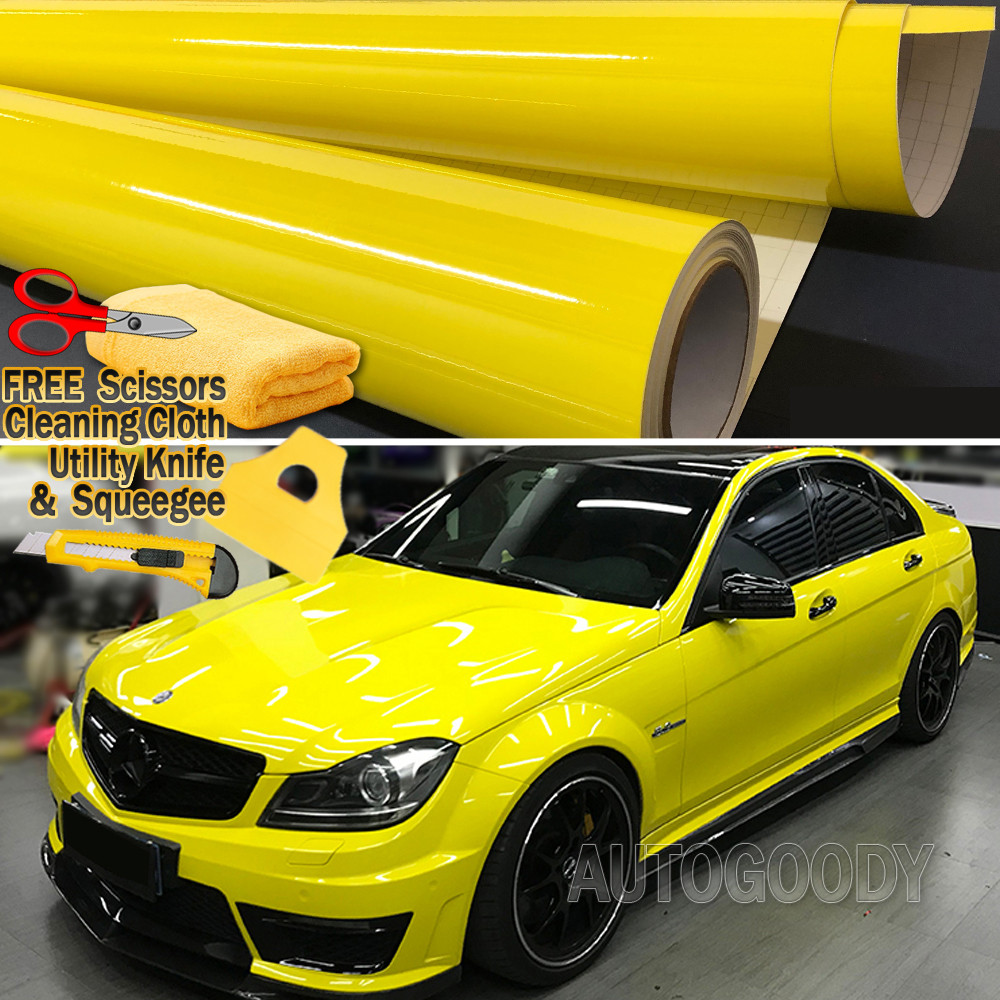 """24/"""" x 60/"""" In Matte Flat Yellow Vinyl Wrap Sticker Decal Bubble Free Air Release"""