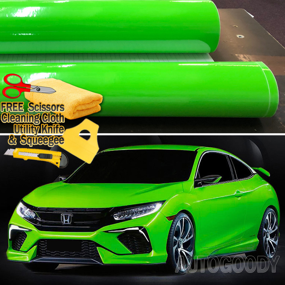 """*48/""""x60/"""" Gloss Glossy Green Car Vinyl Wrap Sticker Decal Air Release Bubble Free"""