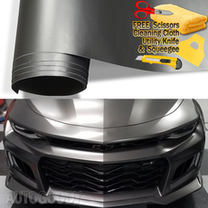 Premium Satin Matte Chrome Metallic Dark Gray Vinyl Film Wrap Bubble Free Air Release