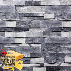 3D Stone Rock Wallpaper Background Modern Vinyl Film Sticker Peel-and-Stick Gray