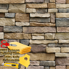 3D Stone Rock Wallpaper Background Modern Vinyl Film Sticker Peel-and-Stick Stack