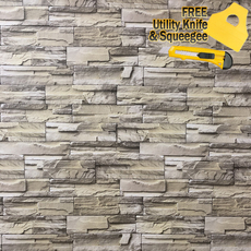 3D Stone Rock Wallpaper Background Modern Vinyl Film Sticker Peel-and-Stick 48""