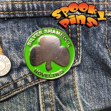 Spooky Pins Halloween Enamel Silver Shamrock Pin