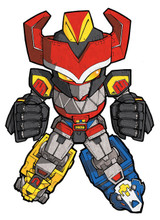 "Mighty Morphin Power Rangers Megazord SD art print 5""x7"" Mike Pflaumer"