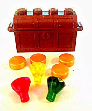 Lego - Brown treasure chest with gold and rubies.