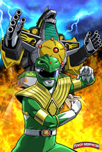 "Power Morphicon 2018 Dragonzord Green Ranger Poster 24""x36"" Shinji Nishikawa"