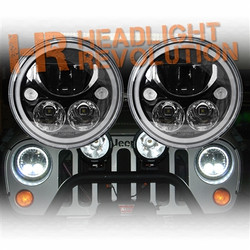 Vision X Jeep JK LED Headlights - Black-Chrome Vortex LED Headlights