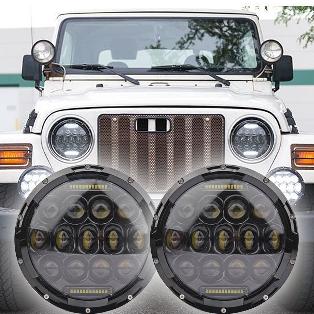1996 2006 Jeep Wrangler Tj Led Headlight Kit Oracle 75w Black H16 2504 Ps24w Adapter For Fog Lights Drl Relay Wiring Harness Ebay Vehicle Specific