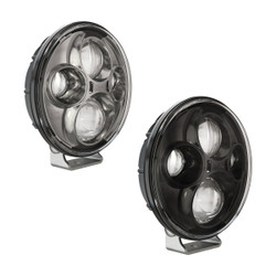 """JW Speaker Model TS4000 12/24V 7"""" Round Chrome High Beam Pedestal Mount Auxiliary 2-Light Kit"""