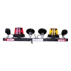 JW Speaker Model MB735 - 12V SAE LED Light Bar with 1 Amber & 1 Red Strobe