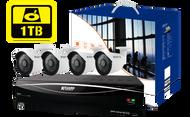 KGUARD HD481 4-CH Hybrid DVR -1080P/720P/960H/Onvif IP cam support & 4 x WA713A with 1TB HDD