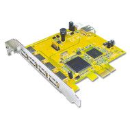 Sunix PCI Express USB 2.0 Card 4 External + 1 Internal Port (USB4414N)