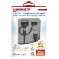 Promate 'linkMate-Trio' Integrated 3-in-1 Smart USB Cable for Charge and Sync - Black