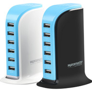 Promate 'powerBase' 8,000mA Ultra-Fast AC Charging Station w/6 USB Ports for Home & Office - White