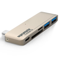Promate 'MacHub-12' Premium High-Speed 5-in-1 USB 3.1 Type-C USB Hub - Gold