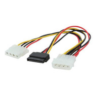 Molex Power Splitter Cable 1 x Molex F to 1x SATA III 15Pin & 1 x Molex M 15cm