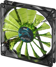 Aerocool Shark Fan 12cm-Green w/LED, 15-Blade Design, Fluid Dynamic Bearing, Noise Reduction