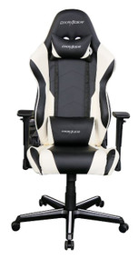 DXRacer RE00 Racing Series Gaming Chair, Neck/Lumbar Support - Black & White