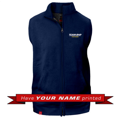 Personalized Sleeveless Collared Jacket (Navy Blue)